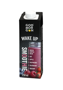 GOD MORGON WAKE UP SMOOTHIE GREEN COFFEE BEAN-OAT-RASPBERRY-ROSEHIP-BLUEBERRY 250 ML